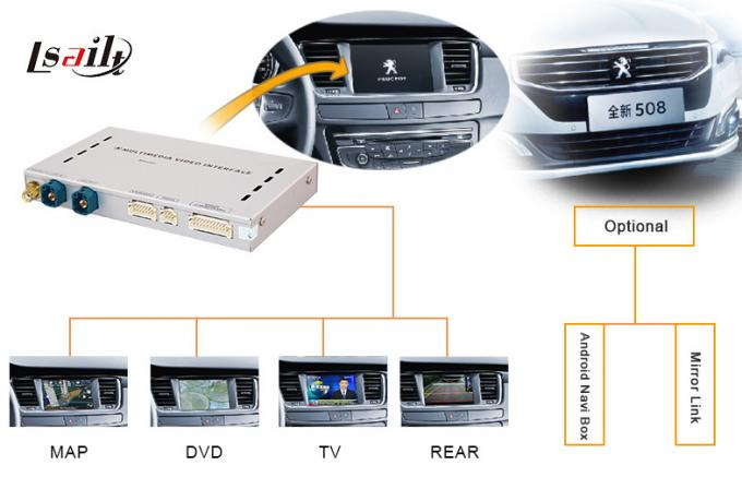 Peugeot-508 Car Multimedia Video Interface Box with Android Navigation AUDIO 3G IGO MAP