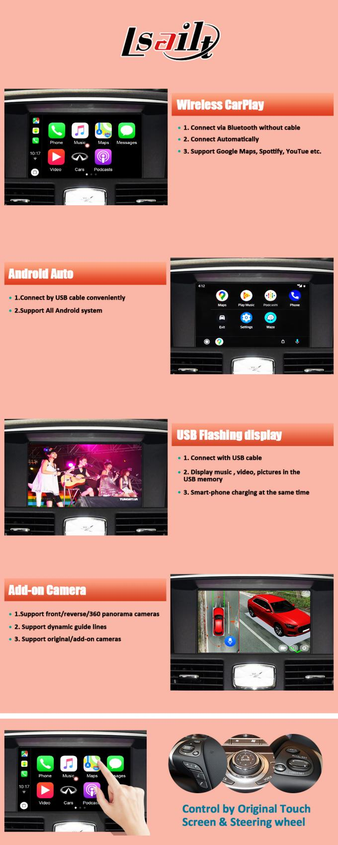Wireless Apple Android Audio Video Interface Original Screen Upgrade For Nissan 2012-2017 370Z