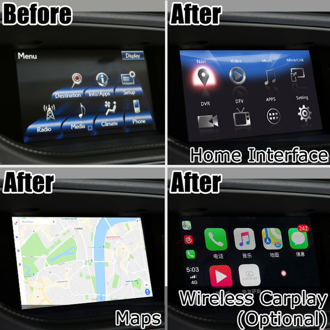 ES250 ES350 ES300h Lexus Video Interface , Android 7.1 Car Navigation Box optional carplay and android auto